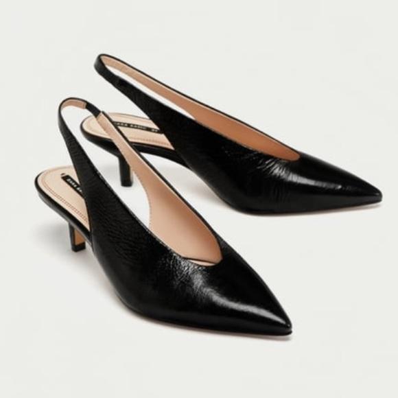 2792ea42d3c Zara slingback leather high heel court shoes Sz 6